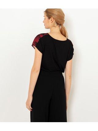 Tričká s krátkym rukávom pre ženy CAMAIEU - vínová, čierna