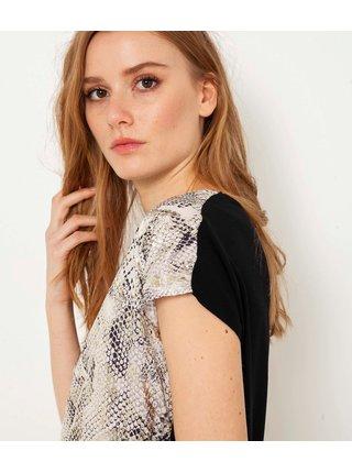 Tričká s krátkym rukávom pre ženy CAMAIEU - hnedá, čierna