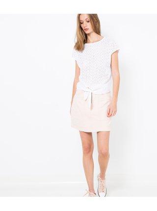 Bílé děrované tričko s ozdobným uzlem CAMAIEU