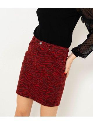 Červená sukně s tygřím vzorem CAMAIEU