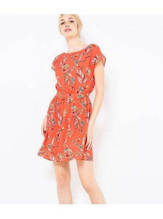 Oranžové kvetované šaty CAMAIEU