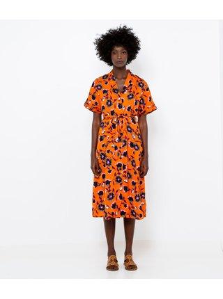 Oranžové kvetované košeľové šaty CAMAIEU