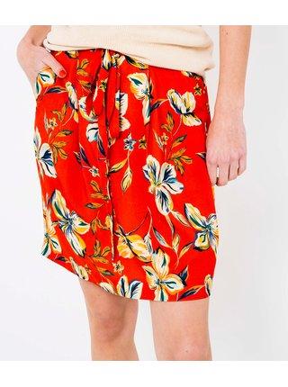 Červená kvetovaná sukňa CAMAIEU