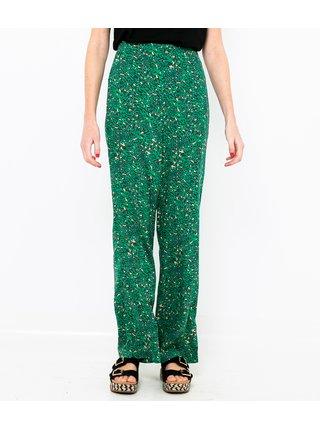 Tmavě zelené široké vzorované kalhoty CAMAIEU