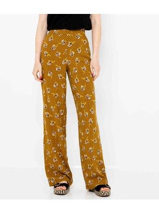 Hnědé široké květované kalhoty CAMAIEU
