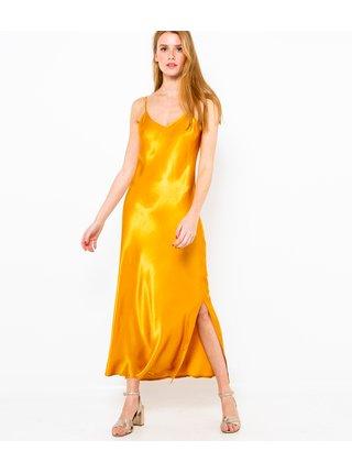 Saténové maxišaty ve zlaté barvě CAMAIEU