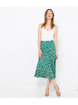 Tyrkysová květovaná midi sukně CAMAIEU