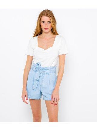 Bílé žebrované tričko CAMAIEU