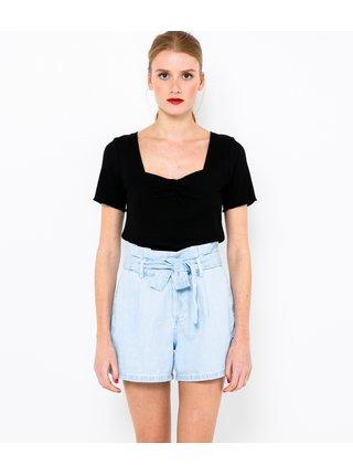 Černé žebrované tričko CAMAIEU