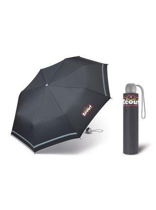 Scout BASIC GREY chlapecký skládací deštník s reflexním proužkem - Šedá