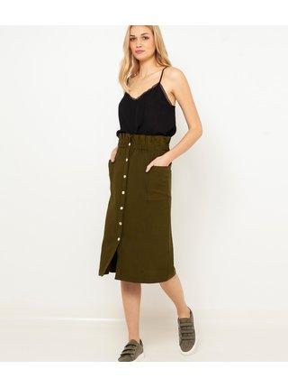 Khaki midi sukně CAMAIEU