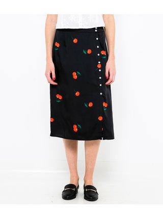 Černá vzorovaná saténová sukně CAMAIEU