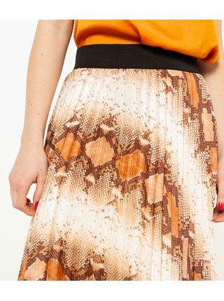 Krémovo-hnědá vzorovaná plisovaná sukně CAMAIEU