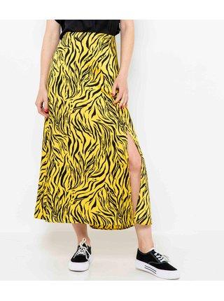 Žlutá vzorovaná midi sukně s rozparkem CAMAIEU