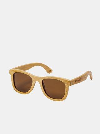 Svetlohnedé dámske bambusové slnečné okuliare Meatfly Bamboo