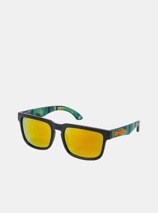 Zelené pánské vzorované sluneční brýle Meatfly Memphis