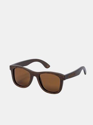 Tmavohnedé dámske bambusové slnečné okuliare Meatfly Bamboo