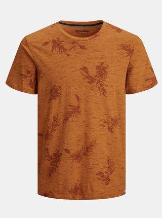 Oranžové vzorované tričko Jack & Jones Cali
