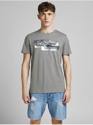 Šedé tričko s potlačou Jack & Jones Cali