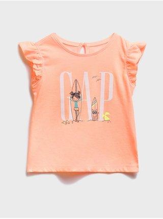 Oranžové holčičí dětské tílko GAP Logo graphic tank