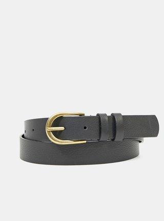 Černý kožený pásek Pieces Haven
