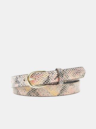 Ružovo-béžový vzorovaný kožený opasok Pieces Baven