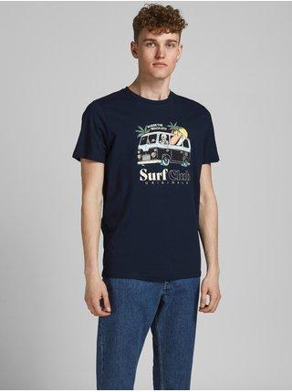 Tmavě modré tričko s potiskem Jack & Jones Summerskull