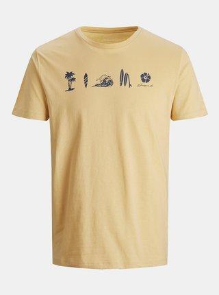 Žlté tričko s potlačou Jack & Jones Streams