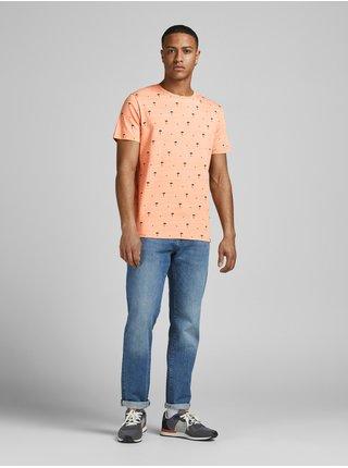 Oranžové vzorované tričko Jack & Jones Poolside