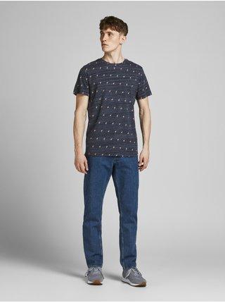 Tmavě modré vzorované tričko Jack & Jones Poolside