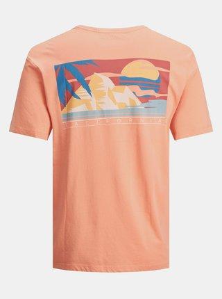 Oranžové tričko s potlačou Jack & Jones Tropicana