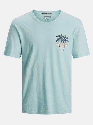 Světle modré tričko s potiskem Jack & Jones Tropicana