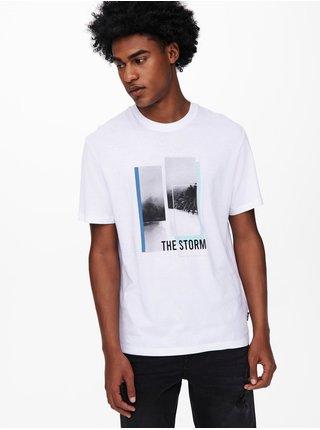 Biele tričko s potlačou ONLY & SONS Pasmal