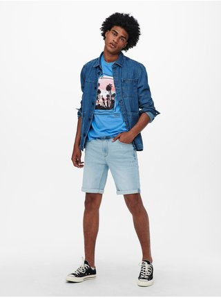Modré tričko s potiskem ONLY & SONS Pasmal