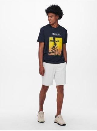 Tmavě modré tričko s potiskem ONLY & SONS Pasmal