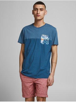 Modré tričko s potiskem Jack & Jones Hazy