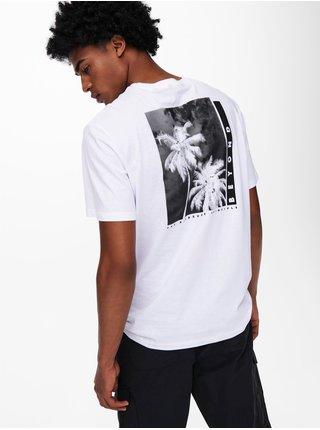 Biele tričko s potlačou na chrbte ONLY & SONS Paste