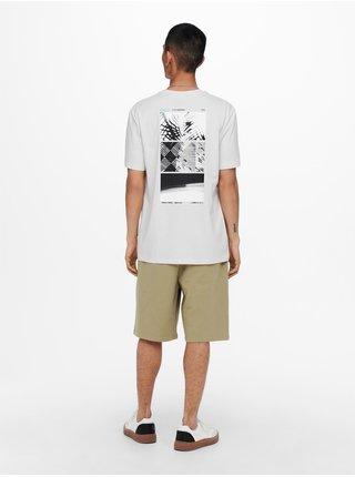 Svetlošedé tričko s potlačou na chrbte ONLY & SONS Paste