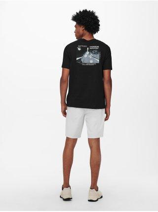 Černé tričko s potiskem na zádech ONLY & SONS Paste