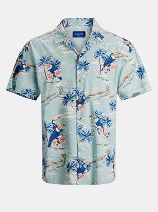 Světle modrá vzorovaná košile s krátkým rukávem Jack & Jones Tropicana