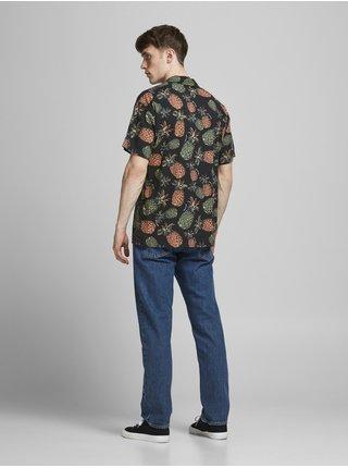 Tmavě modrá vzorovaná košile s krátkým rukávem Jack & Jones Tropicana