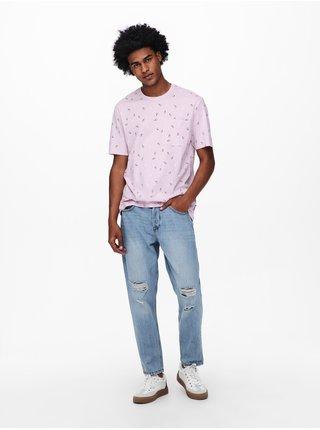 Růžové vzorované tričko ONLY & SONS Prove