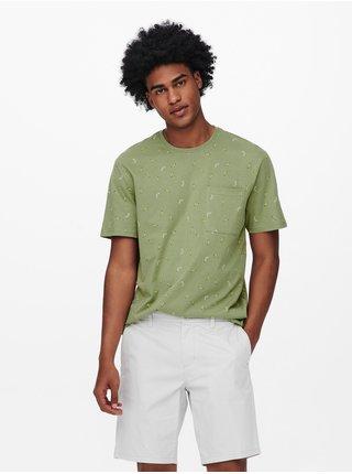 Zelené vzorované tričko ONLY & SONS Prove