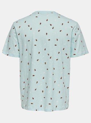 Světle modré vzorované tričko ONLY & SONS Prove