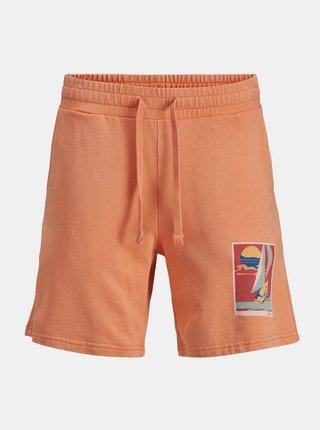 Oranžové teplákové kraťasy s potlačou Jack & Jones Tropicana