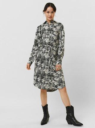 Krémovo-čierne vzorované košeľové šaty VERO MODA Petrinanora
