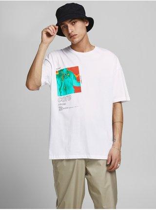 Biele tričko s potlačou Jack & Jones Shows