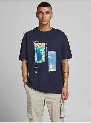 Tmavomodré tričko s potlačou Jack & Jones Shows