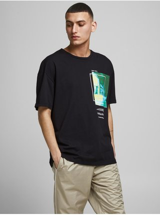 Čierne tričko s potlačou Jack & Jones Shows