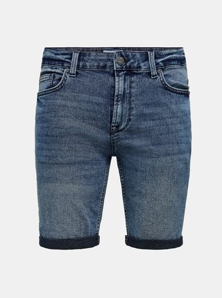 Modré džínové kraťasy ONLY & SONS Ply